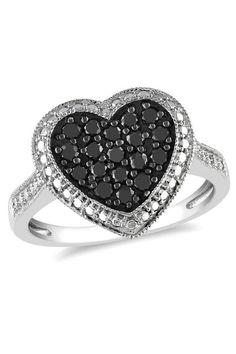 ct Black Diamond Heart Ring in Silver Black Diamond Jewelry, Black Jewelry, Heart Jewelry, Cute Jewelry, Jewelry Gifts, Jewelery, Jewelry Accessories, Heart Rings, Or Noir