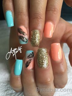 Nail design for anytime of the year. Gel shading turquoise and peach.....add gold glitter and LOVE!