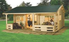 Log cabins and summer house kits for the garden. Scandinavian Style, Corner Log Cabins, Home Offices and Log Cabin Garages. Tiny House Village, Shed To Tiny House, Small House Plans, Corner Log Cabins, Cabins In The Woods, Shed With Porch, Summer House Garden, Build Your Own Shed, Small Buildings