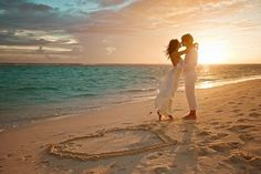 Instead of the heart in the sand, I would do the wedding date in the sand.