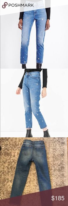 Sandro Locodice Tapered High-Rise Jeans High-waist jeans feature silver-coloured pin badges in the shape of a star, flower, etc. on the front and five pockets and contrasting. As seen on Bella Hadid! Sandro Jeans