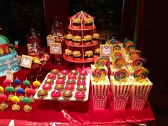 Circus theme...Hamburger Cupcakes!  www.shopsosweet.com