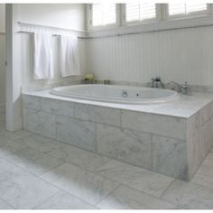 Carrara Marble Tile Bathroom Beach With None