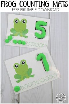 Need a Fun Spring Pirntable to encourage coutning skills? Wy not try these Free Frog Counting Mats. Frog Crafts Preschool, Reptiles Preschool, Frog Activities, Preschool Learning, Kindergarten Activities, Preschool Activities, Teaching, Frog Games, Number Activities