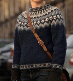 Лопапейса, олени, роза сельбу - истории о скандинавских свитерах и орнаментах: world_jewellery Fair Isle Knitting Patterns, Knitting Designs, Knit Patterns, Icelandic Sweaters, Wool Sweaters, Nordic Sweater, Student Fashion, Warm Outfits, Pulls