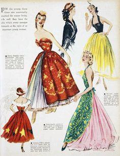 vintage balenciaga gowns - 50s evening dress strapless halter color photo print ad couture models magazine illustration designer