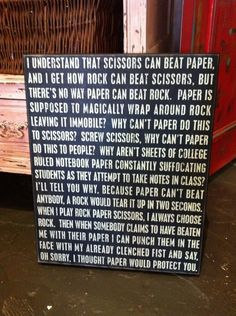 All my life, I thought Rock beat Paper & Scissors...until my husband corrected me!  Glad I'm not the only one that has this train of thought :)