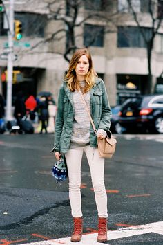 White denim in winter? We love it! via Vanessa Jackman.