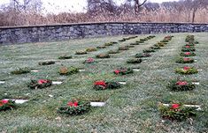 Finn's Point National Cemetery New Jersey some are flat stones. in December National Wreaths Across America Day were placed , Veterans Cemetery, Wreaths Across America, Flat Stone, National Cemetery, Stepping Stones, December, Places, Outdoor Decor, Stair Risers
