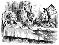 El Sombrerero Loco y La Liebre de Marzo tomando el té desde 1865.