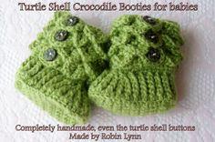 Baby Turtle Shell Crocodile Booties with by GodInspiredCreations, $26.00