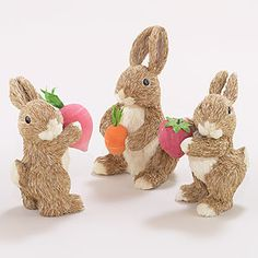 So sweet! The sisal bunny collection could make a great entry tabletop display.