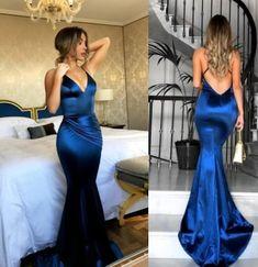 Purple royal blue prom dress, long prom dress, mermaid prom dress, sexy prom dresses, spaghetti straps party dress, evening dresses, PD17650