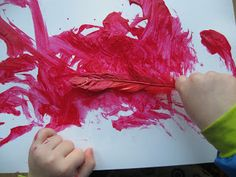Bird Themed Activities - painting with feathers
