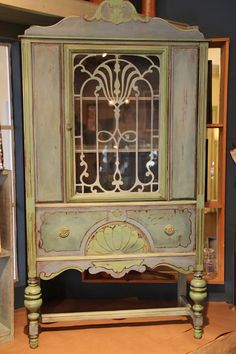 Art Nouveau Goddess Cabinet in pale green & lavender.    Oh dear, choices will have to be made.