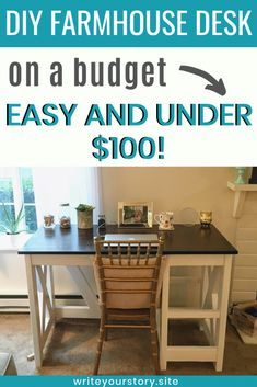 Create a DIY farmhouse desk! This DIY furniture is a wonderful Budget Friendly DIY that anyone can do. The result is a beautiful DIY desk that will last for many years to come.