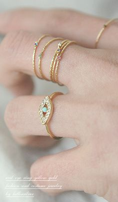 3ede960b2a61b Color Stone Textured Tin Rings Gold Set of 6