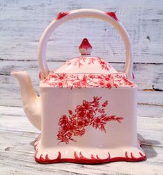 70% Already Taken Off Red Toile Ceramic Teapot French Country.