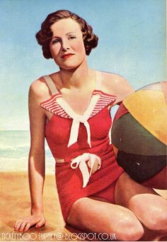 Tickety Boo Tupney: The Swimsuit. 1930s Fashion, Retro Fashion, Vintage Fashion, Vintage Bathing Suits, Vintage Swimsuits, Crochet Vintage, Vintage Knitting, 1940s Outfits, Vintage Outfits