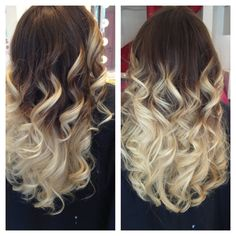 Dark brown to light blonde ombre. Hair made by Pizofcake!