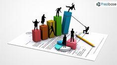 Creative 3D business economy concept illustration Prezi template for presentations