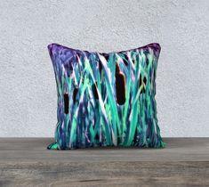 Cattails Blue Silver Pillow Cover 18x18 - Velveteen / Printed Back