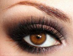 brown, brown eyes, eyeshadow, false lashes