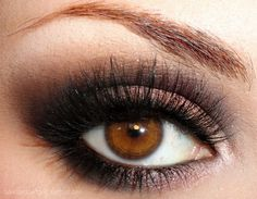 brown, brown eyes, eyeshadow, false lashes