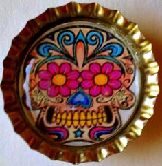 Pink and Yellow Eyes Day of the Dead suger Skull  by CslayerD, $1.00