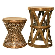 **Brass Garden Stools - These brass garden stools are very cool. They'd look fantastic in a tropical style garden.
