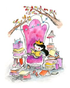 Nothing like curling up with a good book to make you feel king or queen of the world. --> i love this. this is me as a child. :D