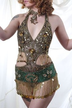 Belly Dance Belt in Black and Gold by Talulahblueburlesque on Etsy