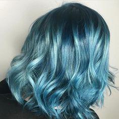 Mermaid Blues  by @samihairmagic Are you a mermaid at heart?  #hotonbeauty . . . . #bluehair #shadowroot #lob #lobhair #lobhaircut #lobhaircolor #hairpainting