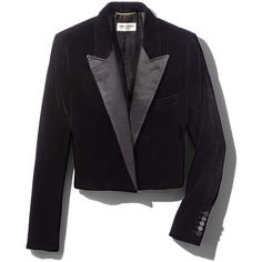 Saint Laurent Cropped Satin-Trimmed Velvet Blazer ($1,238) ❤ liked on Polyvore featuring outerwear, jackets, blazers, black, slim blazer jacket, padded jacket, short jacket, slim jacket and velvet jackets