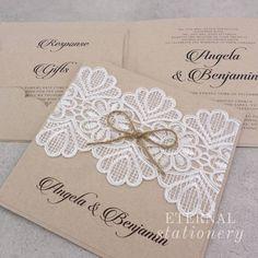 Rustic lace Wedding Invitation Created by Eternal Stationery www.eternalstationery.com.au