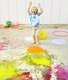 Kids will have a blast with this chalk-bomb idea from mom Lorie King Kaehler, author of Chalk on the Wild Side. Use a clean soap-dispenser pump to fill water balloons with a washable chalk-paint mixture—mix 1 cup of water, 2 tablespoons of cornstarch, and a few drops of food coloring. Have your child draw targets on the ground with chalk or just let him go wild. Fire away!