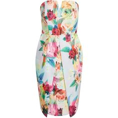 Geo Floral Dress ($83) ❤ liked on Polyvore featuring dresses, origami dress, strapless v neck dress, geometric print dress, strapless floral dress and structured dress