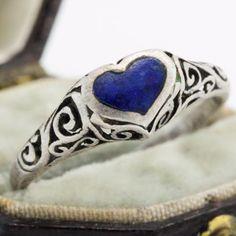 Antique-Vintage-C-1930-Art-Deco-Sterling-Silver-Lapis-Lazuli-Womens-Ring-Sz-6