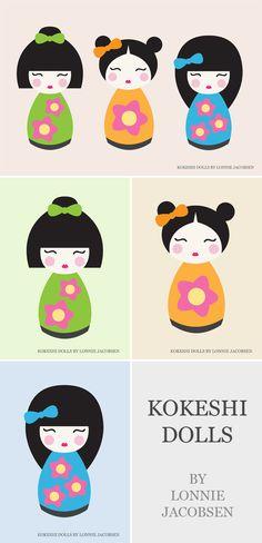 Så har jeg gjort det igen ;) Så nogle fine billeder i Søstrene Grene i dag, af kokeshi dolls, og så fik jeg da lige inspiration til mit næste Illustrator projekt ;) Så nu har jeg lavet 4 billeder s...