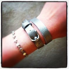 Pewter metallic leather skinny wrap bracelet