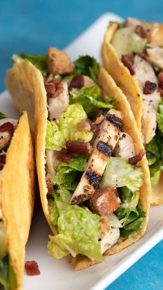 Caesar Salad Tacos If you have to eat salad, eat it as a taco.If you have to eat salad, eat it as a taco. Mexican Food Recipes, Diet Recipes, Chicken Recipes, Cooking Recipes, Healthy Recipes, Salad Recipes, Healthy Wraps, Healthy Tacos, Snacks Recipes