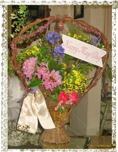 Lovely vintage basket of May Day posies ⊰❀ http://www.silhouetteonlinestore.com/?page=view-shape&id=22406