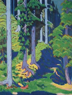 ERNST LUDWIG KIRCHNER 1880 - 1938 WALDINNERES (FOREST INTERIOR) signed E.L. Kirchner (lower right) oil on canvas 178 by 135cm. 70 1/8 by 53 ...