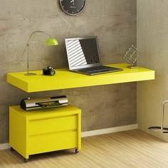 Escrivaninha Suspensa Multiuso Uvim Amarelo