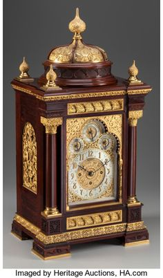 A Moorish Revival Mahogany and Gilt Bronze Mantle Clock for Tiffany & Co., New York, New York, circa 1884  Marks to dial: TIFFANY & CO. Antique Boxes, Antique Clocks, Old Clocks, Vintage Clocks, Moorish Revival, Mantle Clock, Unusual Clocks, Retro Clock, Clock Art