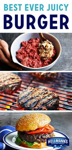 At long last, our Best Ever Juicy Burger recipe. You'll wanna pin this one right away, because it'll help you make a juicy, delicious burger your family will never forget. The secret: it mixes Hellmann's Mayonnaise into the patty to lock in the flavor of Turkey Burger Recipes, Meat Recipes, Cooking Recipes, Grilled Hamburger Recipes, Great Burger Recipes, Recipes Dinner, Lunch Recipes, Pasta Recipes, Dinner Ideas