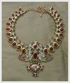 Gehna - south indian style ruby, diamond emerald necklace