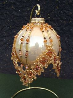 beaded  ornament cover pattern | The pattern calls for 12mm bugles. It is very hard to find that size ...