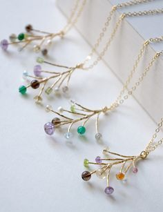 Branch Gemstone Necklace, Multi Gemstones Branch Leaf Necklace, Amethyst Crystal Quartz Peridot Necklace, Nature Inspired Gifts For Women