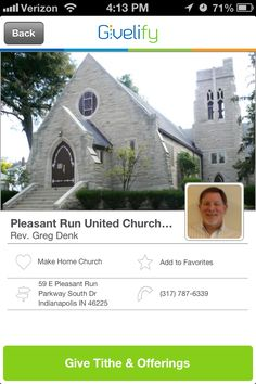 Pleasant Run United Church of Christ in Indianapolis, Indiana #GivelifyChurches